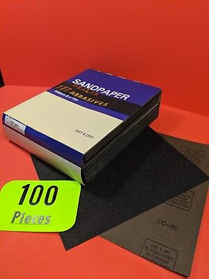 "100xWet-Dry   Sanding Sheets  80 Grit  Silicon-Carbide  9x11""  Waterproof  Paper"