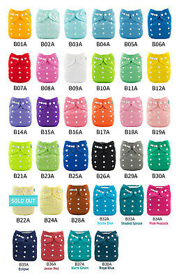 ALVABABY Reusable Washable Cloth Diapers One Size Best Pocket Nappies + Insert