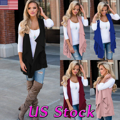 Fashion Women Open Top Shawl Draped Solid Tunic Vest Casual Sleeveless Cardigan