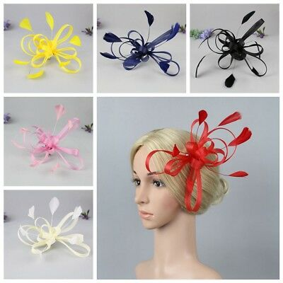 Flower Net Looped Feather Fascinator Ladies Day Races Wedding Royal Ascot