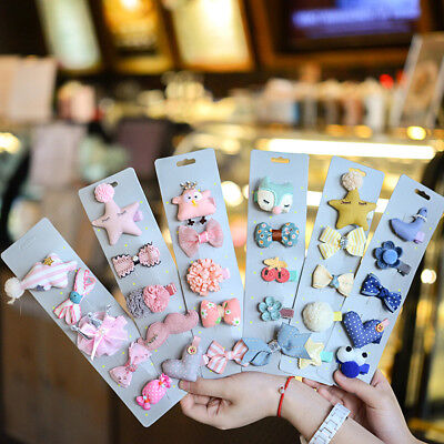 Baby Girls 5Pcs/Set Kid Lovely Hair Clip Bowknot Hairpin Cartoon Barrettes Soft