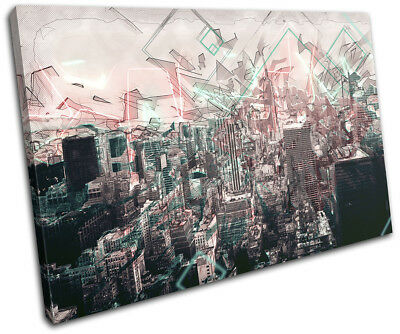 New York NYC Modern Abstract  City SINGLE CANVAS WALL ART Picture Print