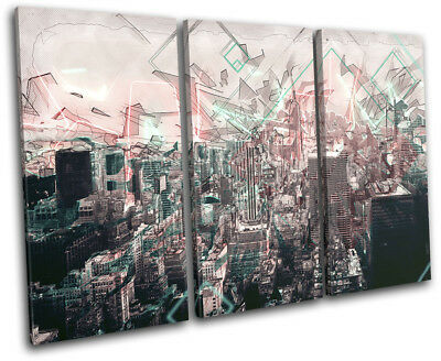 New York NYC Modern Abstract  City TREBLE CANVAS WALL ART Picture Print