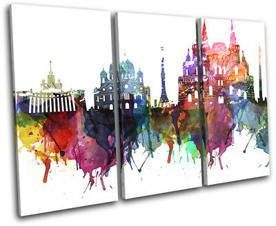 Moscow Watercolour Style Abstract City TREBLE CANVAS WALL ART Picture Print