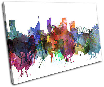 Sydney Watercolour Style Abstract City SINGLE CANVAS WALL ART Picture Print