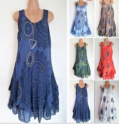 AU Women Midi Dress 2 Layered Boho Summer Vest Tank Sun Shift Sundress Plus Size