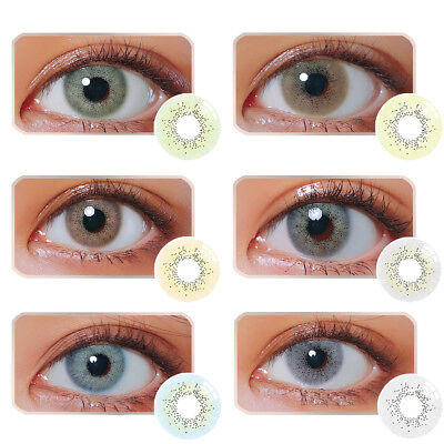 1Pair Unisex Blue Sky Gray Jade Green Coloured Contact Lens Lenses 1Year Vente