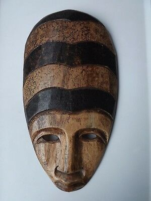 Heavy Wooden African Tribal Mask Wall Decor Carved Wood
