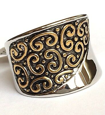 Silver Gold Art Deco Statement Ring Cocktail Size 6 7 8 Two Tone Celtic Plated