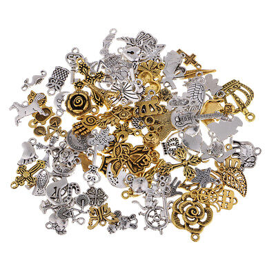 100x Gold/Silver Alloy Charms Necklace Pendant for Jewelry Making Craft DIY