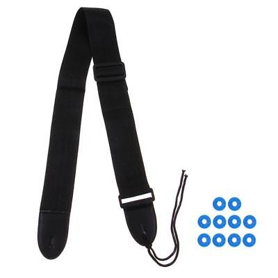 Acoustic Guitar Nylon Adjustable Strap+10pcs Rubber Safety Strap Lock Washer