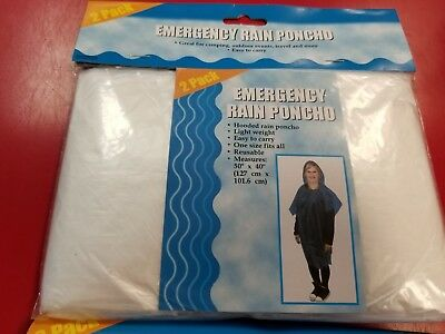 "2 pack ~ Emergency Rain Poncho One size fits all  50"" x 40""  Clear"
