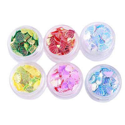 Glitter Sequins Mermaid Shell Shape Halloween Nail Art Decoration Hologeraphic S