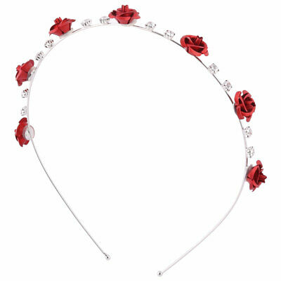 Lady Metal Artificial Rose Flower Decor Hairdressing Headband Hair Hoop Red