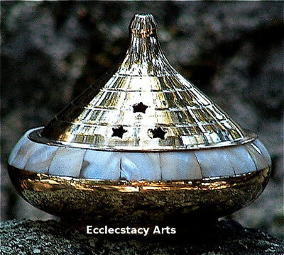 """Brass Pearl Inlay Smudge Pot, Resin Incense Censer Burner-Cones-Charcoal 4""""D"""