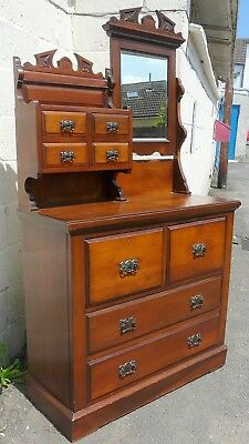 Large Victorian Dressing Chest / Chest Of Drawers