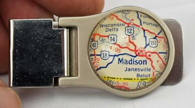 Vintage Madison Wisconsin Map Money Clip
