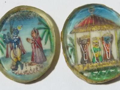 2 x 19thC Miniature Asian Hand Painted Pictures Scenes People Inset Roundels *