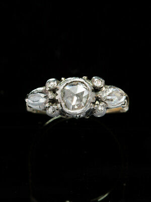 BEAUTIFUL ANTIQUE GENUINE GEORGIAN RARE 1.71 Ct DIAMOND THREE STONE RING