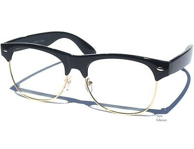 ddef9478cb RETRO Half Top Brow Frame CLEAR LENS GLASSES Hipster Retro Nerd Style Black