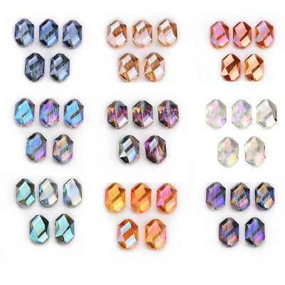 5PCS 18mm Oval Hexagon Glass Crystal Spacer DIY Loose Beads Jewelry Design New