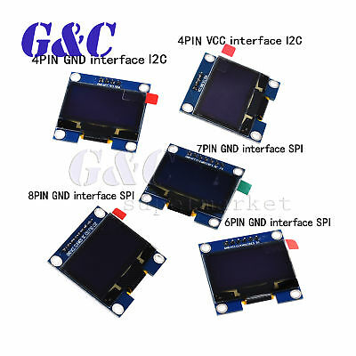 "1.3"" Blue/White OLED LCD 4-8PIN Display Module GND/VVC Interface I2C/SPI 128x64"