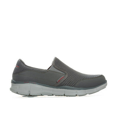 Mens Skechers Equaliser Persistent Slip On Trainers In Charcoal- Slip On Design-