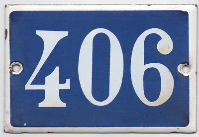 Old blue French house number 406 door gate plate plaque enamel steel metal sign