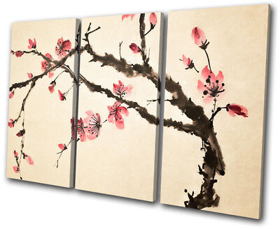 Cherry Blossom Tree Flowers Floral TREBLE CANVAS WALL ART Picture Print