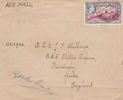 1940 ww2 gibraltar passed censor 19 cachet airmail cover to raf finningley 44