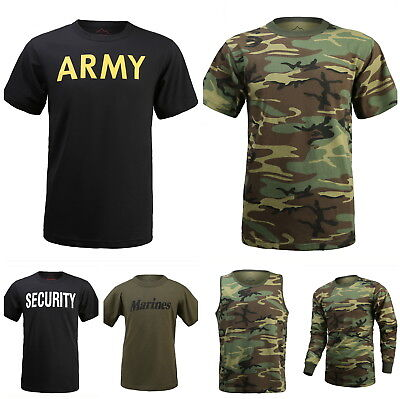 New Mens Army Style Outdoor Gym Training Boot Camp Camo T-SHIRT Tee