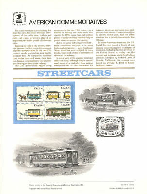 #200 20c American Streetcars #2059-2062 USPS Commemorative Stamp Panel
