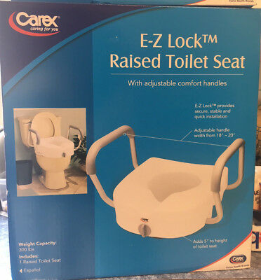 NEW Carex E-Z Lock Raised Toilet Seat W/ Adjustable Comfort Handles FREE SHIP