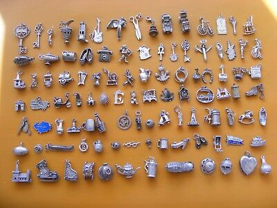 Z  Vintage Sterling Silver Charm Charms Car Guitar Lamp Key Ankh E Pixie T Ark