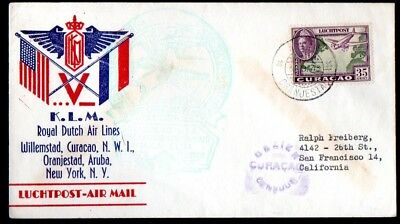 Aruba: 1943 First flight KLM cover Curacao - USA from Oranjestaad