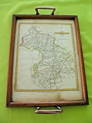 Old wooden antique tray with inset J Cary 1793 engraved map of Cambridgeshire