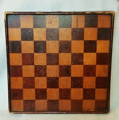 Antique Square Stained & Grained Pine Wood Checkerboard Original Crazed Finish