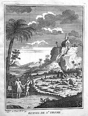 ca. 1750 St. Thomas India Indien Ansicht view Kupferstich antique print Asia