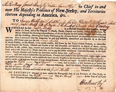 1762, Charles Read, Secretary of New Jersey, signed estate probate document