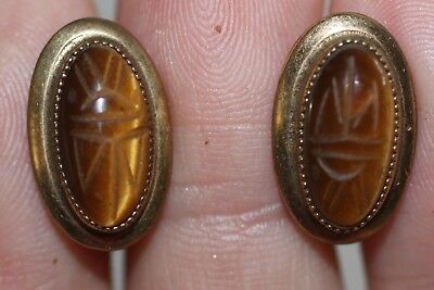 Vintage 12K Gold Filled Tiger Eye Scarab Stone Earrings