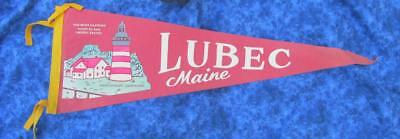 1950's Lubec Maine Travel Souvenir Pennant Banner, Quoddy Lighthouse