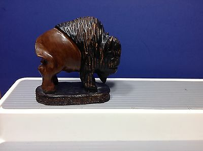 Vintage St. Joseph's Indian School Sculpture Buffalo Bison Paperweight Figure