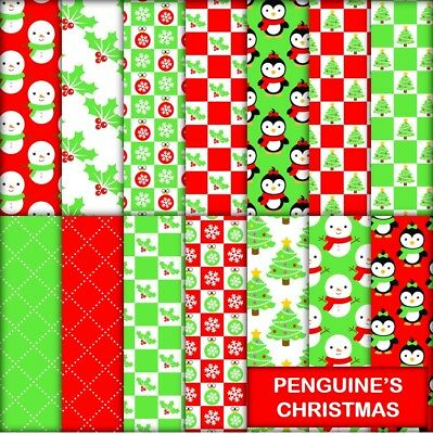 PENGUINE'S CHRISTMAS SCRAPBOOK PAPER - 14 x A4 pages