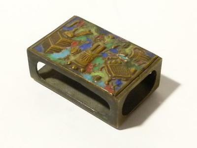 Antique Asian Brass & Enamel Matchbox Holder Pictorial Repousse Vases Chinese *