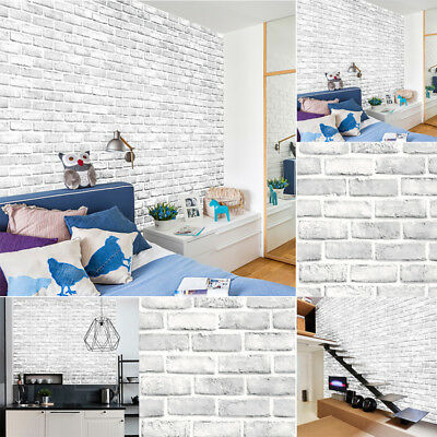 3D Deor Brick Stone Rustic Effect Self-adhesive Wall Sticker Home Decor White UK