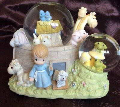 "Precious Moments Music Box - Double Snow Globe, ""Noah's Ark"" 2000"