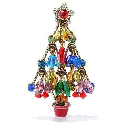 New Sweet Romance Christmas Tree Pin W/ Dangling Crystal Bead Ornaments Usa Made