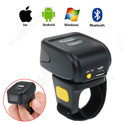 Mini BTOOTH Ring Finger Barcode Scanner Reader mit Batterie für Android & iOS