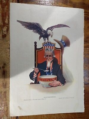 1917 Cream Of Wheat Advertisement With Uncle Sam - Preparedness Word War I Theme