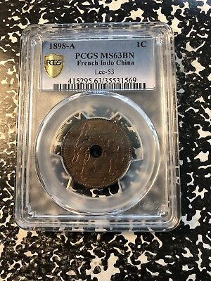 1898-A French Indo China 1 Cent PCGS MS63 Lot#G930 Better Date! Choice UNC!
